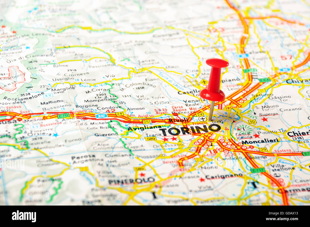 Map Of Italy Torino.Red Push Pin Pointing At Torino Italy Map Stock Photo 111492671