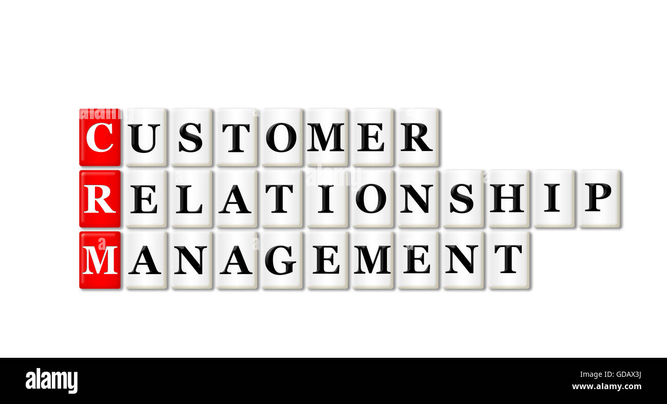 Conceptual CRM Customer Relationship Management acronym on white - Stock Image