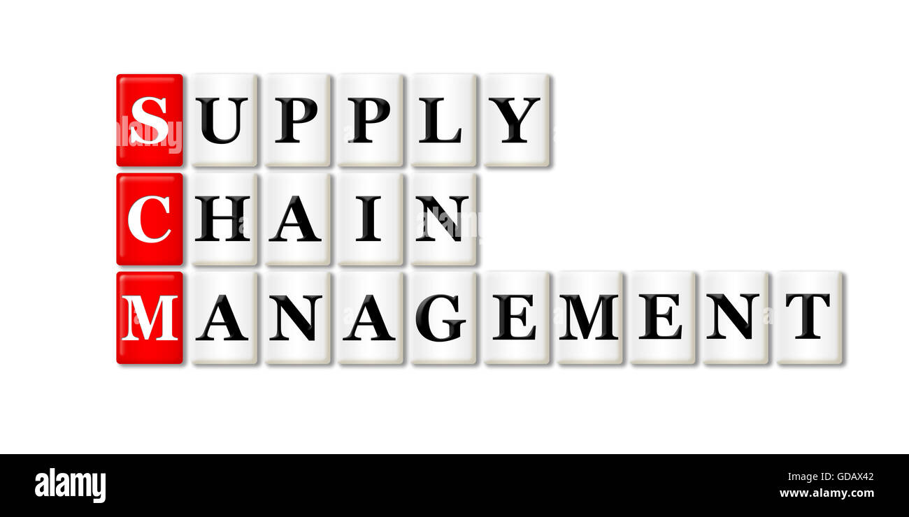 Conceptual SCM Supply Chain Management acronym on white Stock Photo