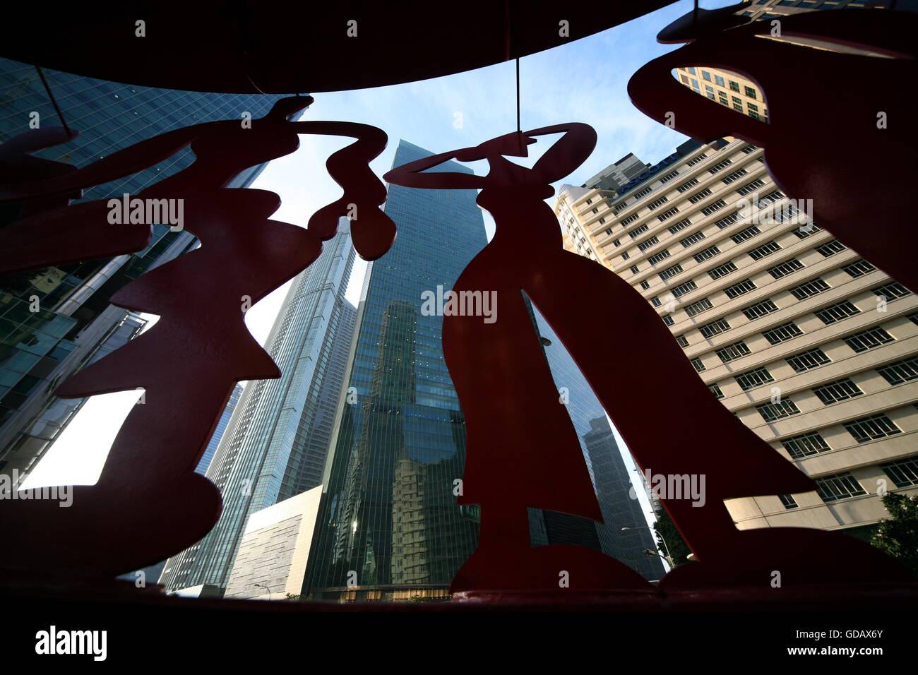 Die Skyline im Bankenviertel am Boat Quay von Singapur im Inselstaat Singapur in Asien. - Stock Image