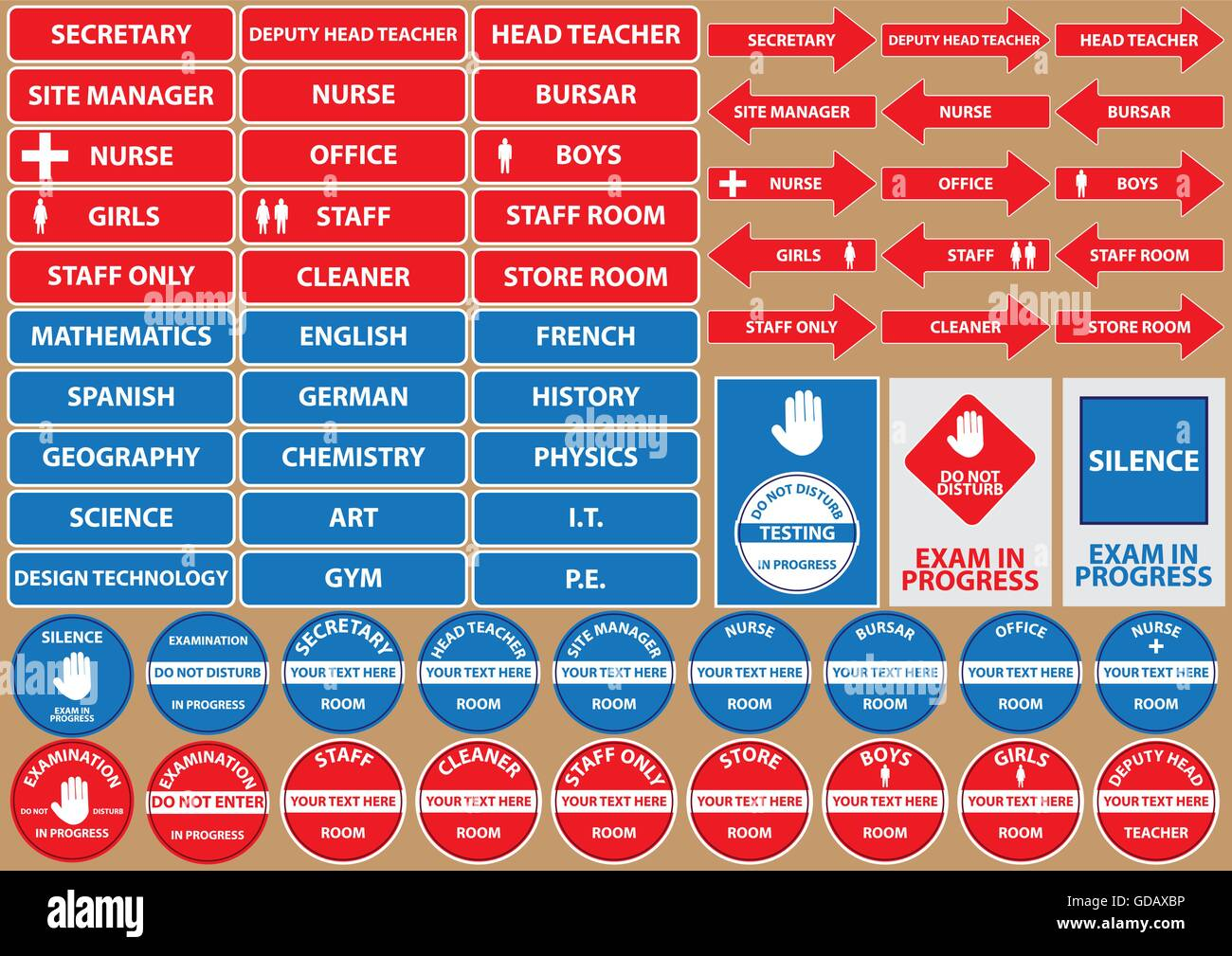 set of school environment signs/symbols (exam, staff, head teacher, secretary, nurse, room). flat vector illustration - Stock Image