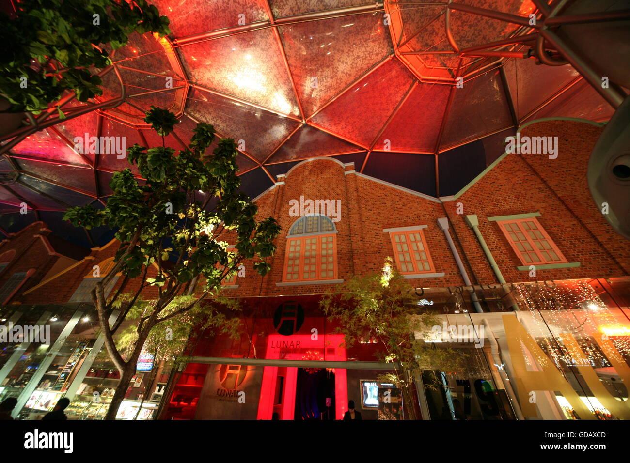 Asien, Suedost, Singapur, Insel, Staat, Stadt, City, Skyline, Zentrum, Clark Quay, Nachtleben, Night Live, Architektur, - Stock Image