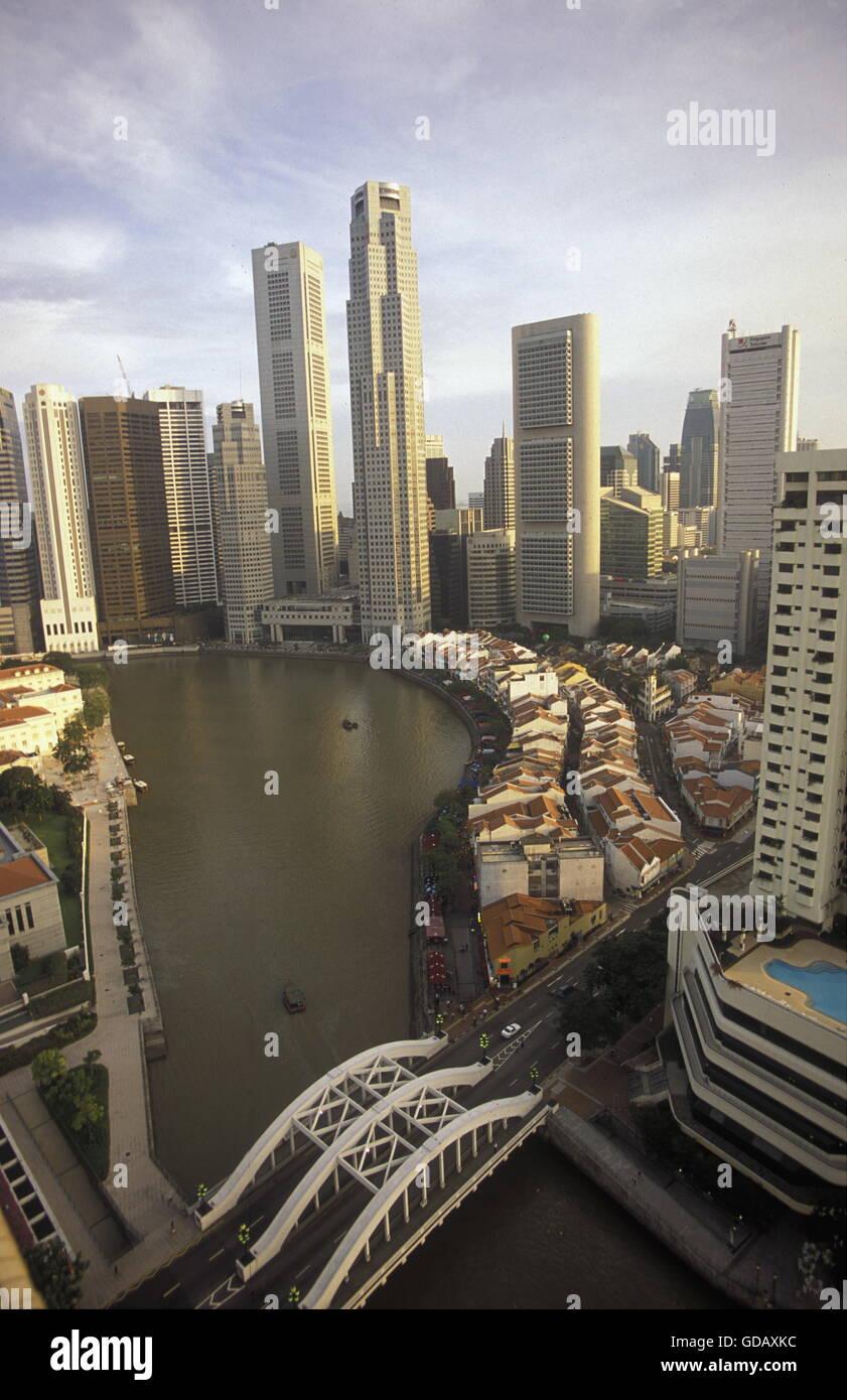 ASIEN, SUEDOST, SINGAPUR, STADT, ZENTRUM, PROMENADE, SKYLINE, , BOAT QUAI, SINGAPUR RIVER, STADT ZENTRUM, DOWN TOWN, - Stock Image