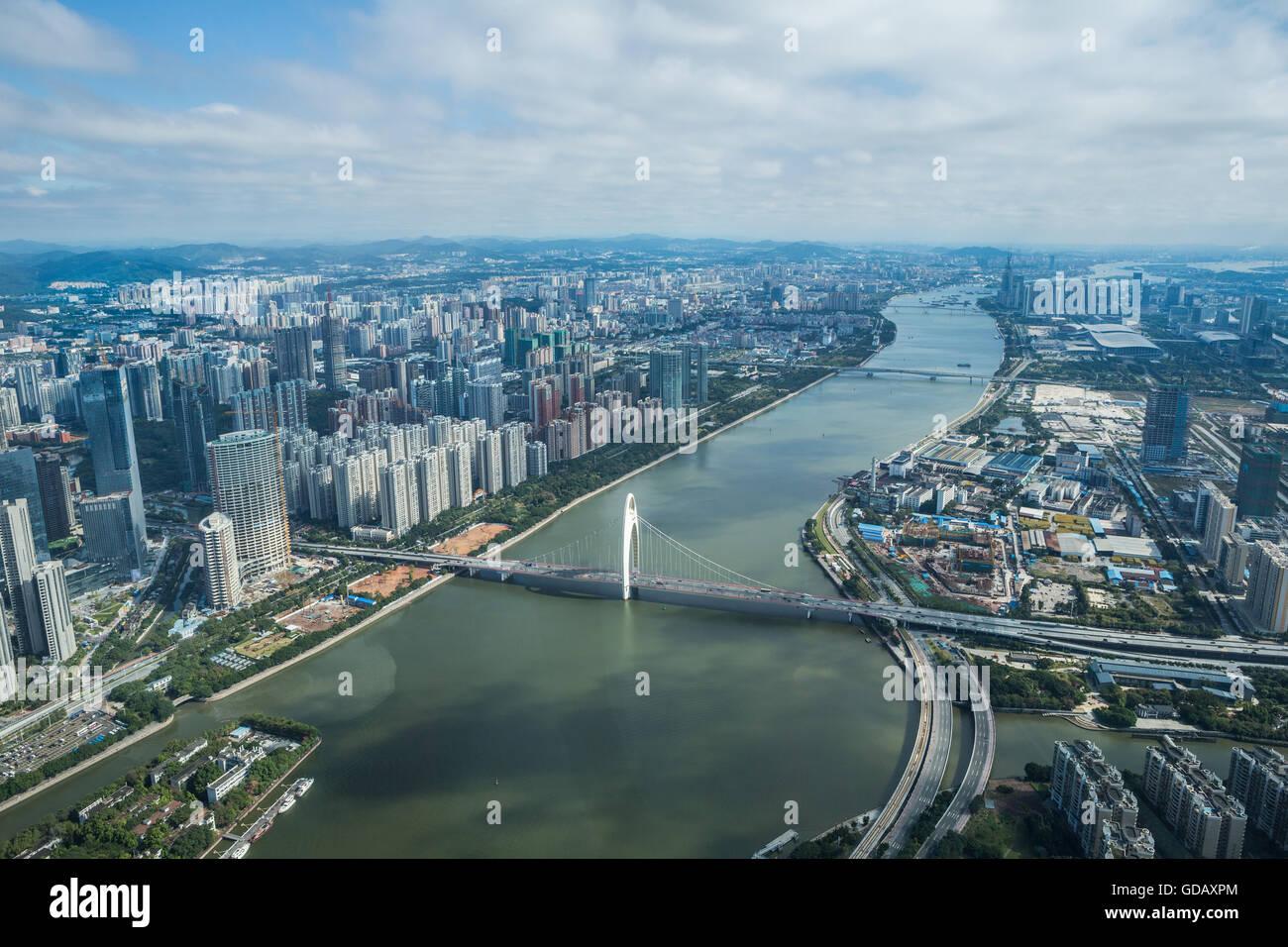 China,Guangdong Province,Guangzhou City,Pearl River,East Guangzhou - Stock Image