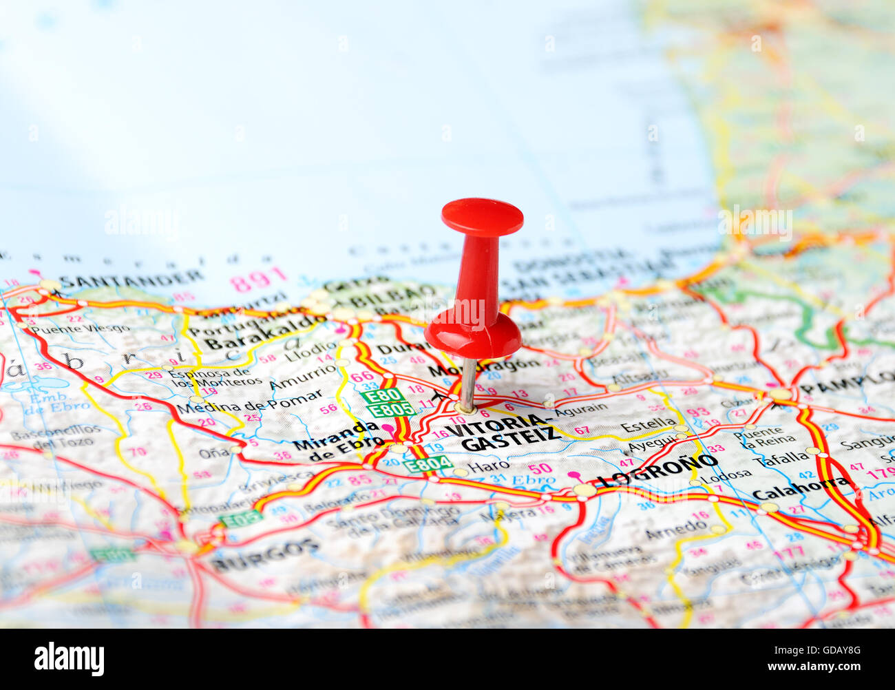 Close up of Vitoria Gasteiz Spain map and red pin Travel Stock