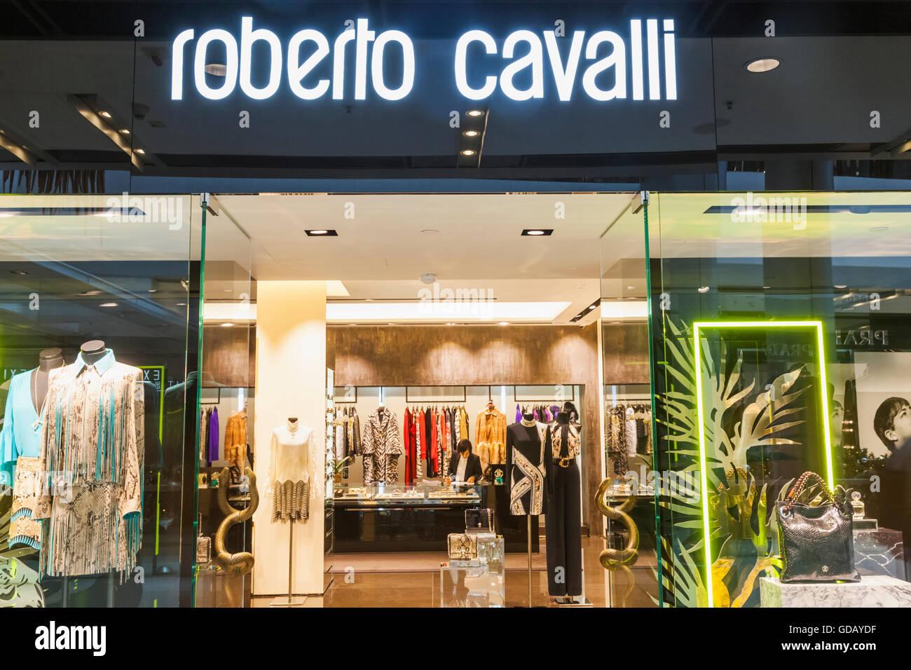 China,Hong Kong,Central,IFC Shopping Mall,Roberto Cavalli Store Stock Photo