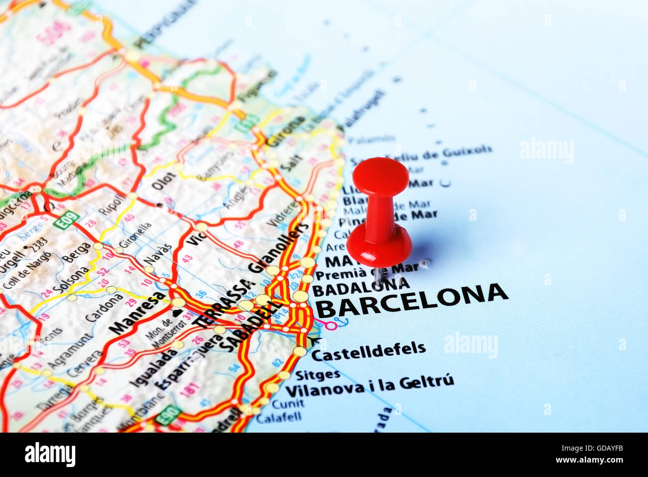 Map Of Spain With Barcelona.Close Up Of Barcelona Spain Map And Red Pin Travel Concept Stock