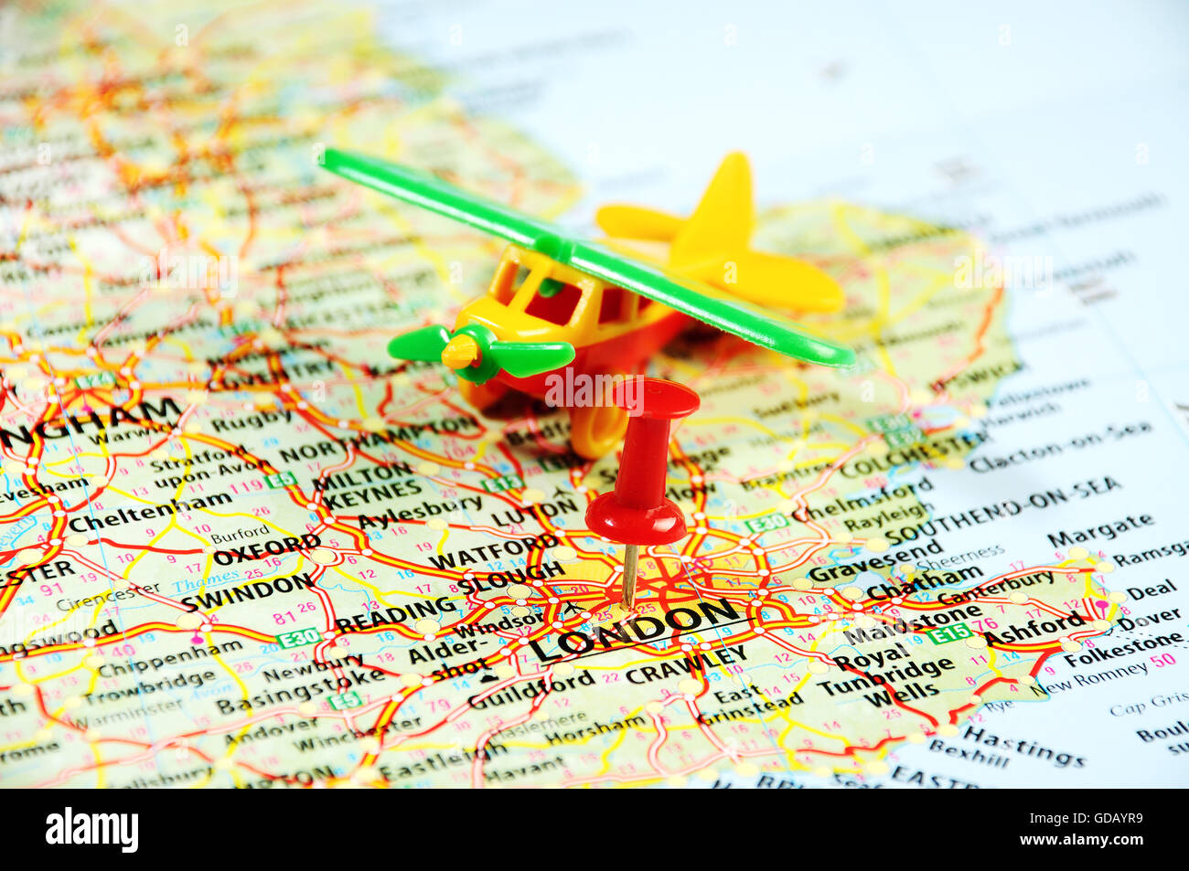 flight to london united kingdom map airplane and red pin travel concept