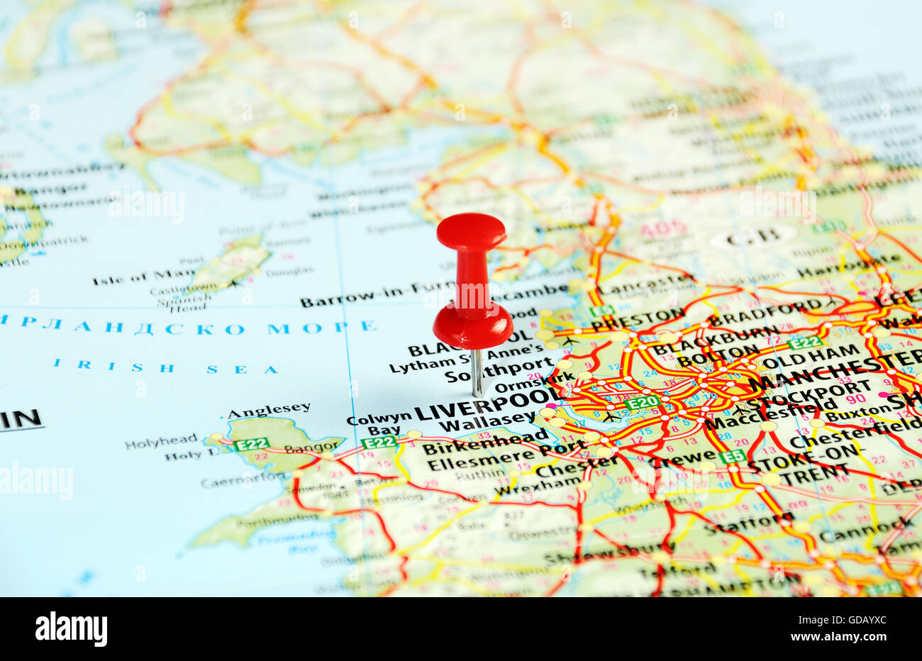 Liverpool England ,United Kingdom map and pin - Travel concept Stock ...