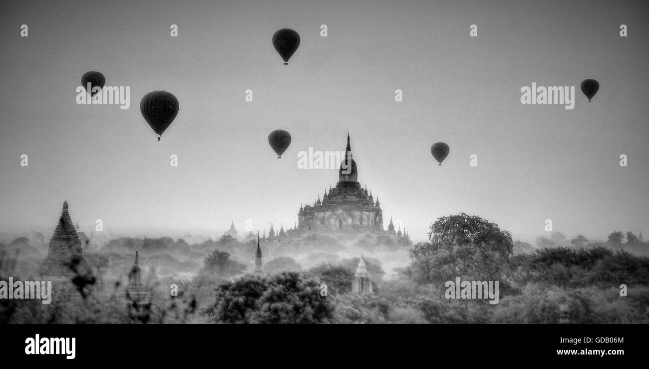 Bagan,Myanmar,Burma,Asia,sunrise,hot-air balloons,Mystical,mood,pagoda,Stupa - Stock Image