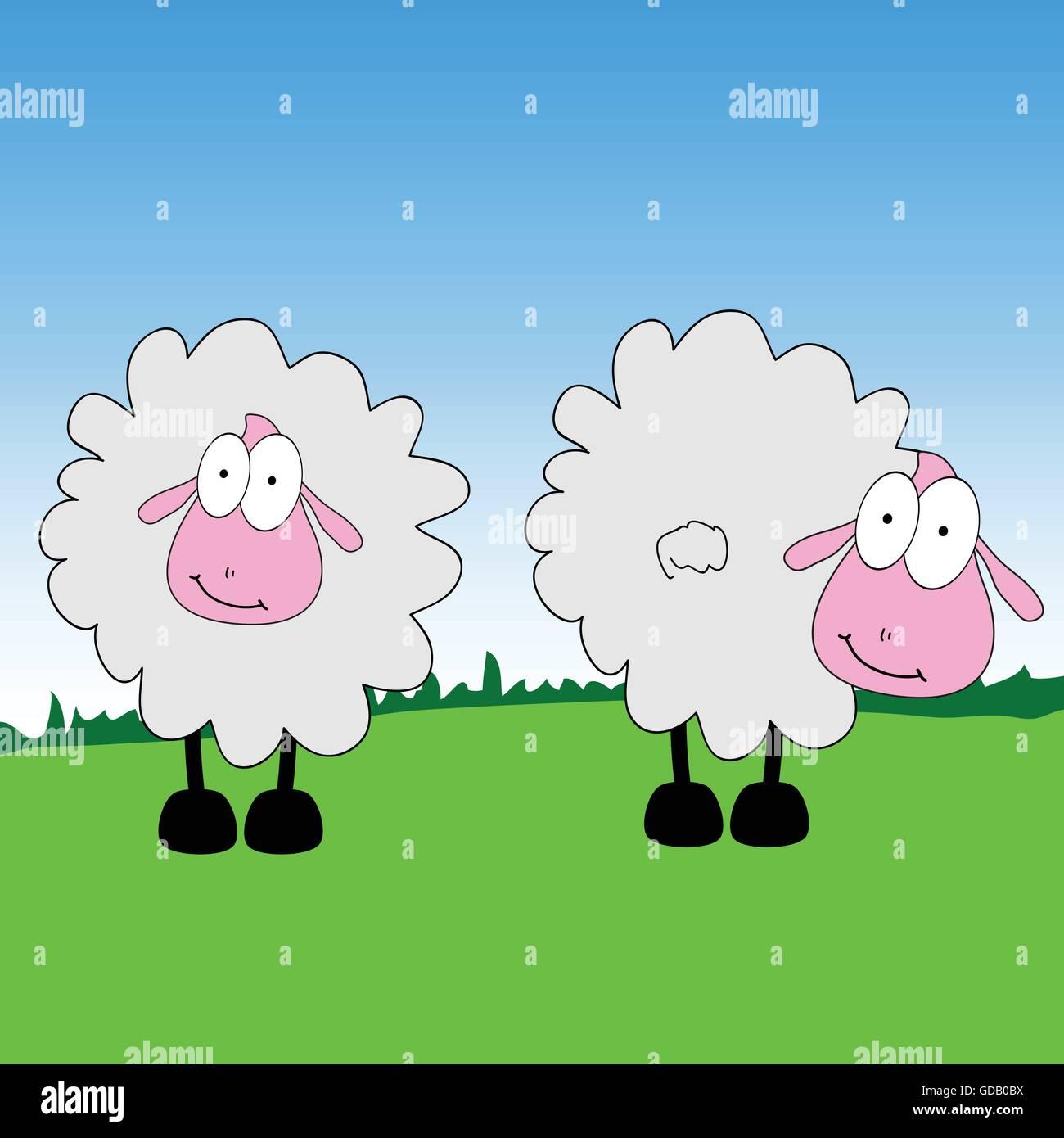 sheep cartoon on a grass vector illustration Stock Vector