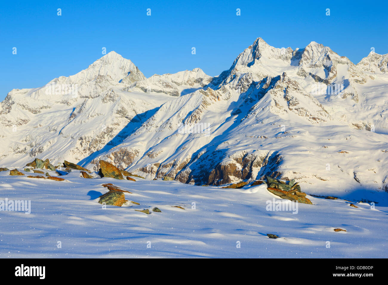 Dent Blanche - 4357 ms,Ober Gabelhorn - 4063 ms,Valais,Switzerland Stock Photo