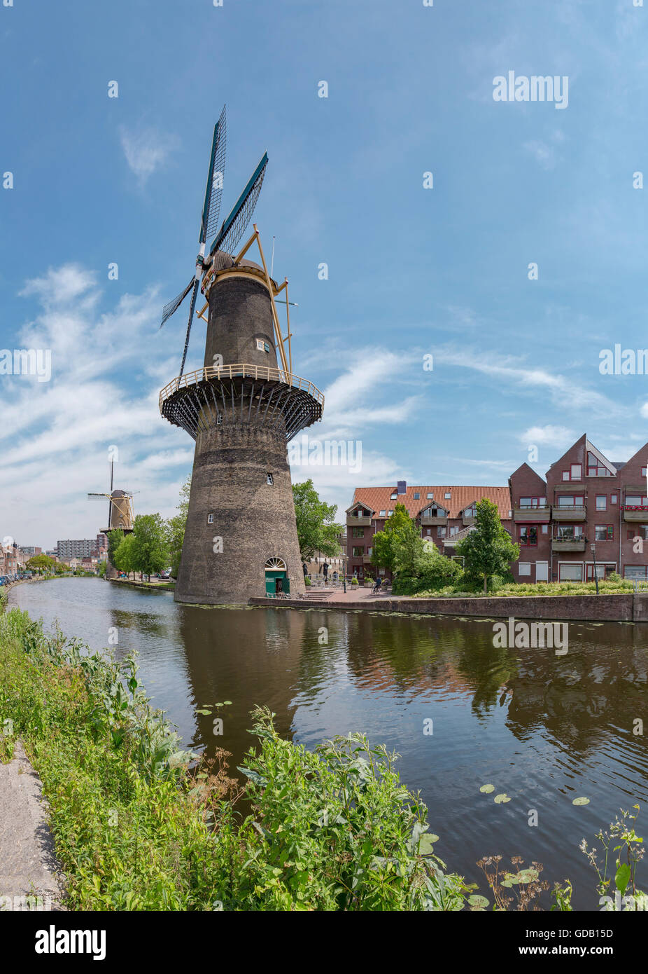 Schiedam,Tower mills at the Noordvest-canal Stock Photo