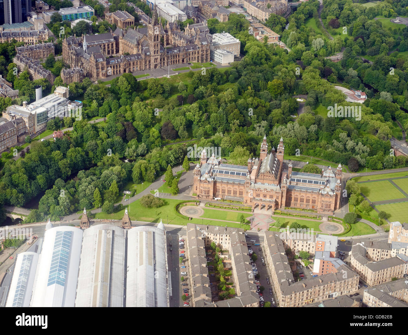 An aerial view of Kelvin Hall Glasgow University, Central Scotland - Stock Image
