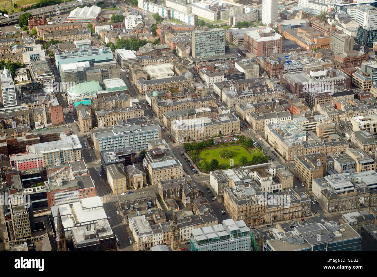 An aerial view of Glasgow business district, Central Scotland - Stock Image