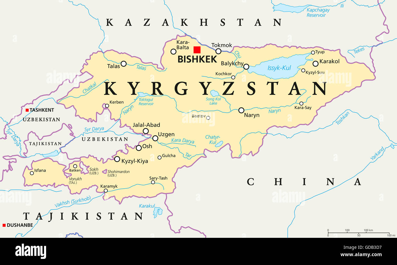 Kyrgyzstan political map with capital Bishkek, national ...