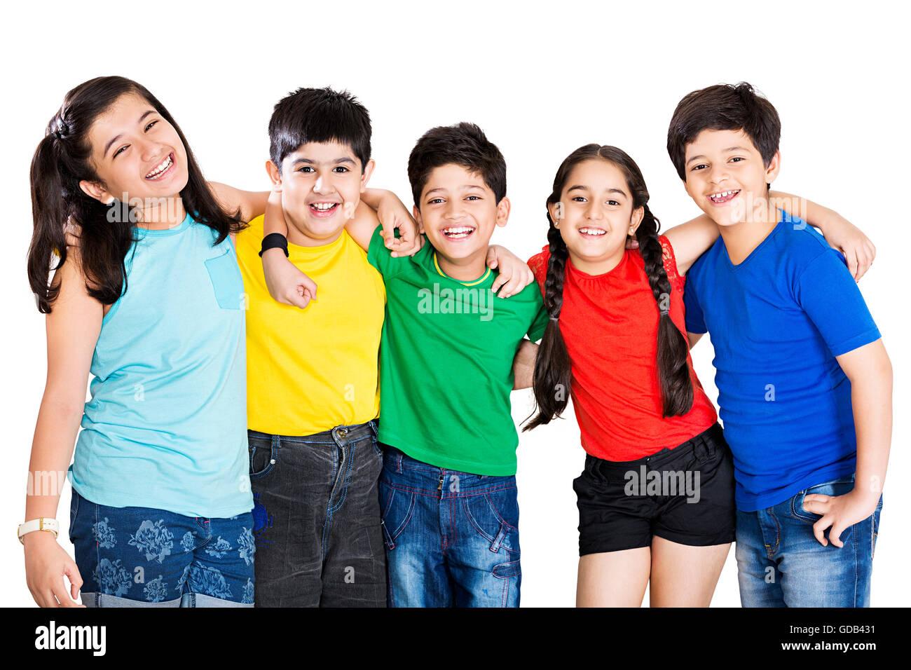 5 Kids Boys And Girls Friends Arm Around Standing Stock Photo Alamy