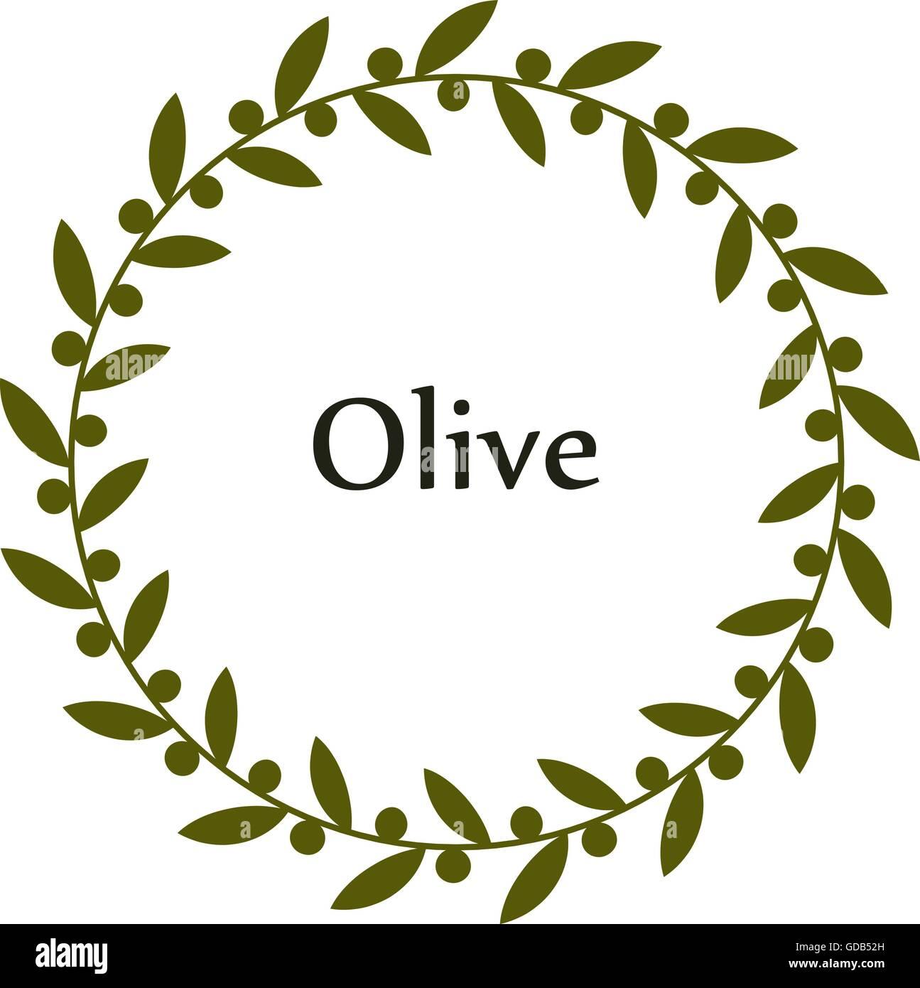 Isolated round green olive branch vector logo. Circlular shape. Olive oil sign. Symbol of peace. Greek mythology - Stock Image