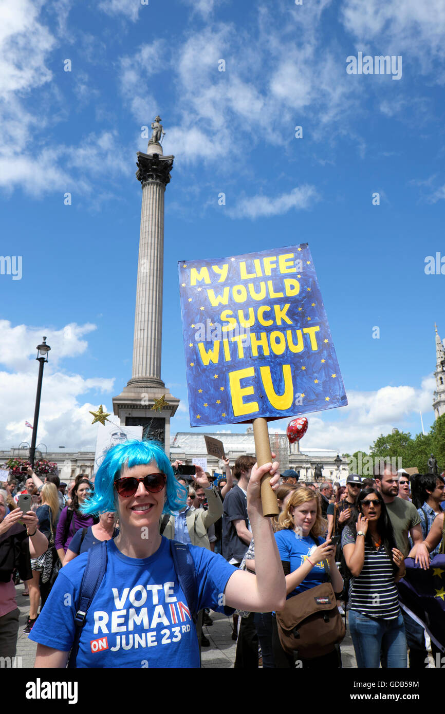 'March for Europe'  protesters protestors Remain voters in EU Referendum protest demonstration  to Parliament - Stock Image