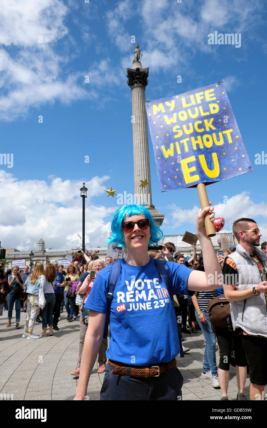 'March for Europe'  Remain voters in EU Referendum protest demo to Parliament Square In London UK 2nd July - Stock Image