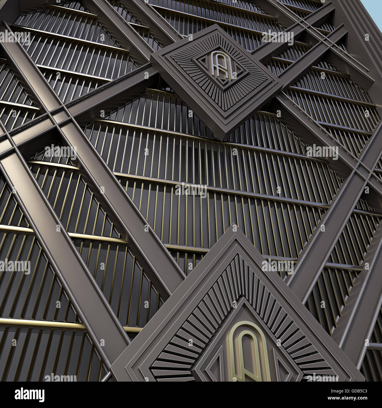 Wall Art Deco Style Made Of Steel And Gold Background 3d Render