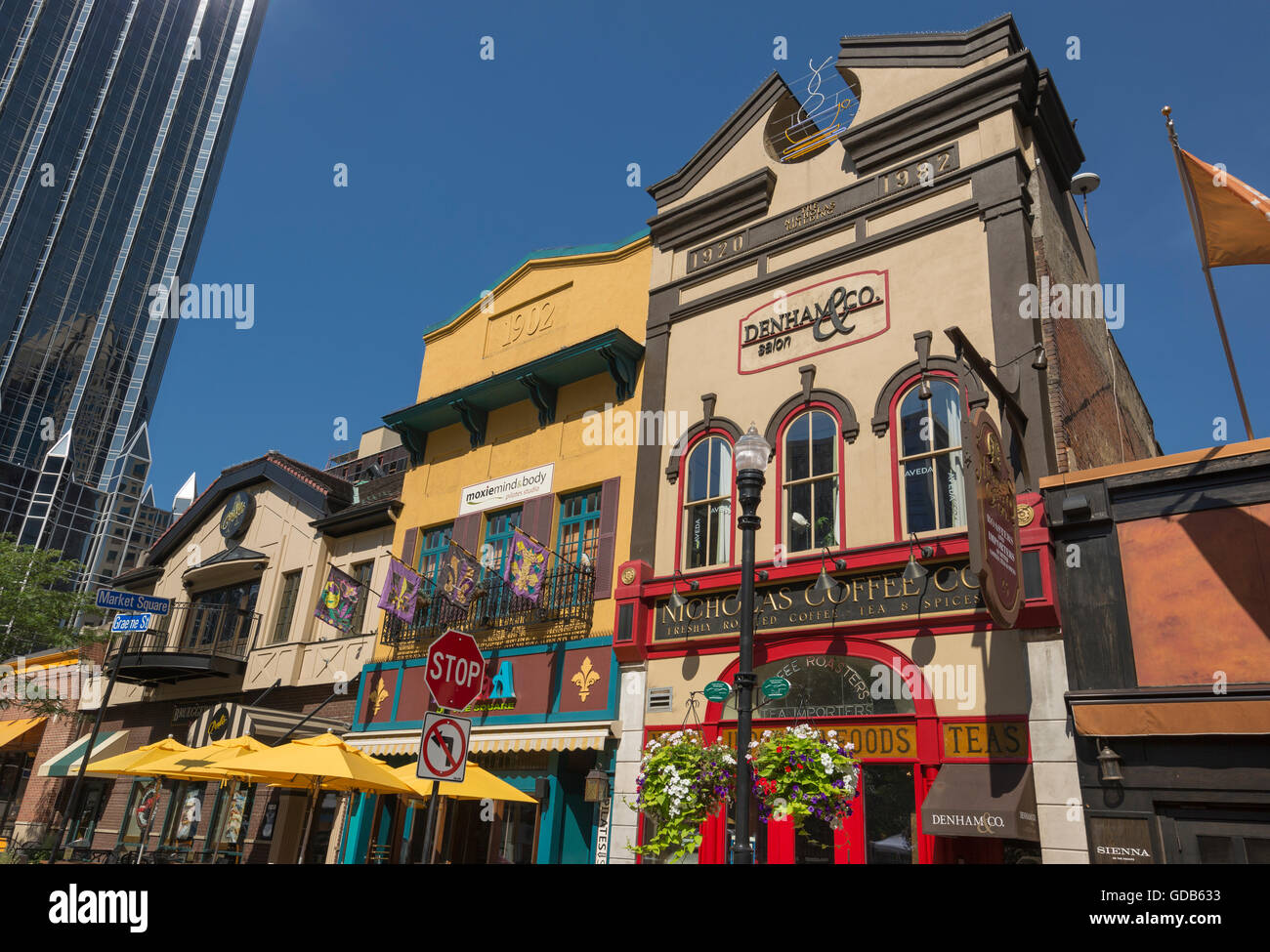Restaurants Market Square Downtown Pittsburgh Pennsylvania Usa Stock