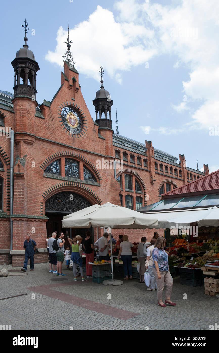 Fresh produce market next to Hala Targowa the main market Stock Photo
