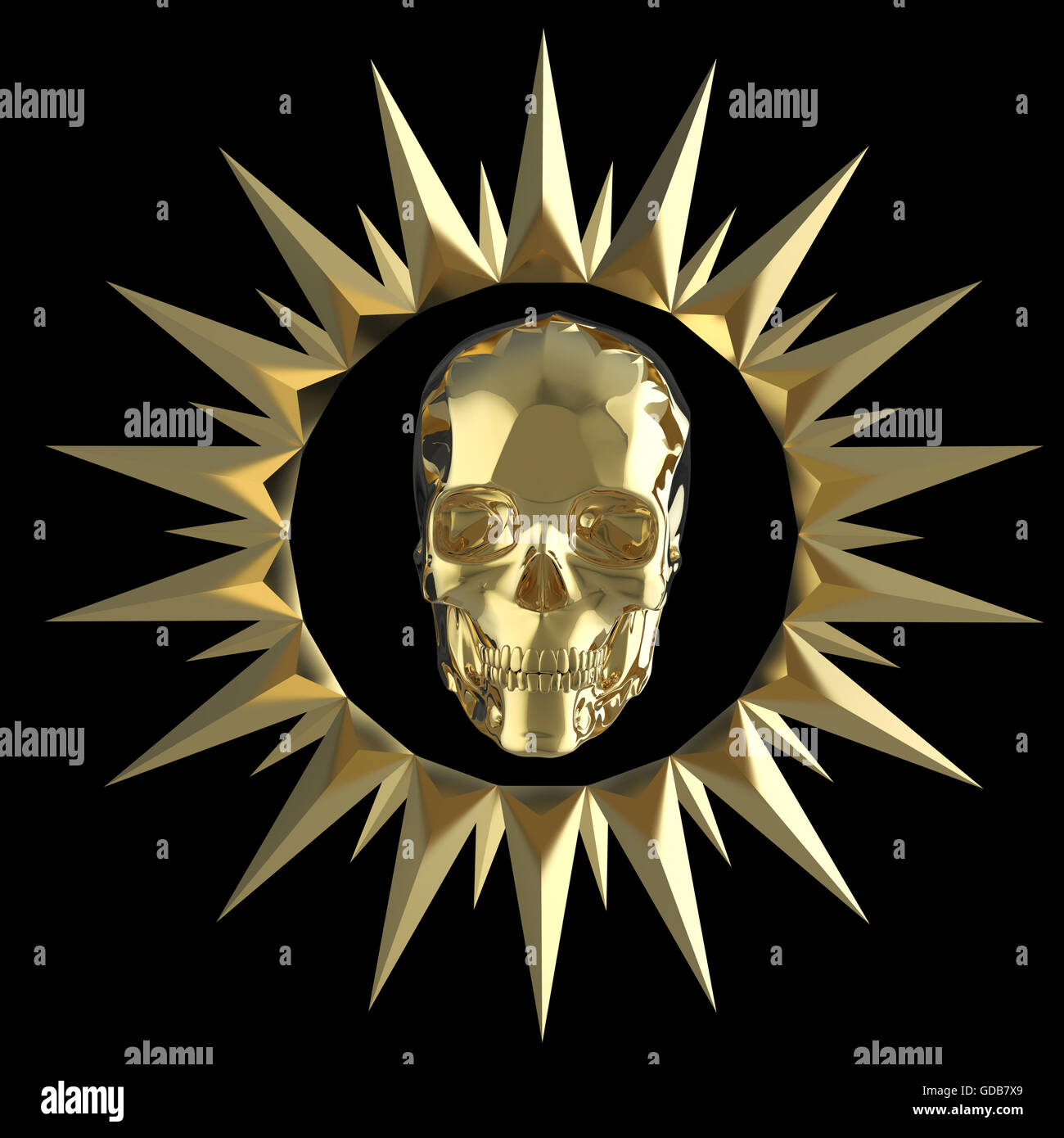 87d7ed35bd2b shiny gold metal skull on matte golden plate with spikes Stock Photo ...