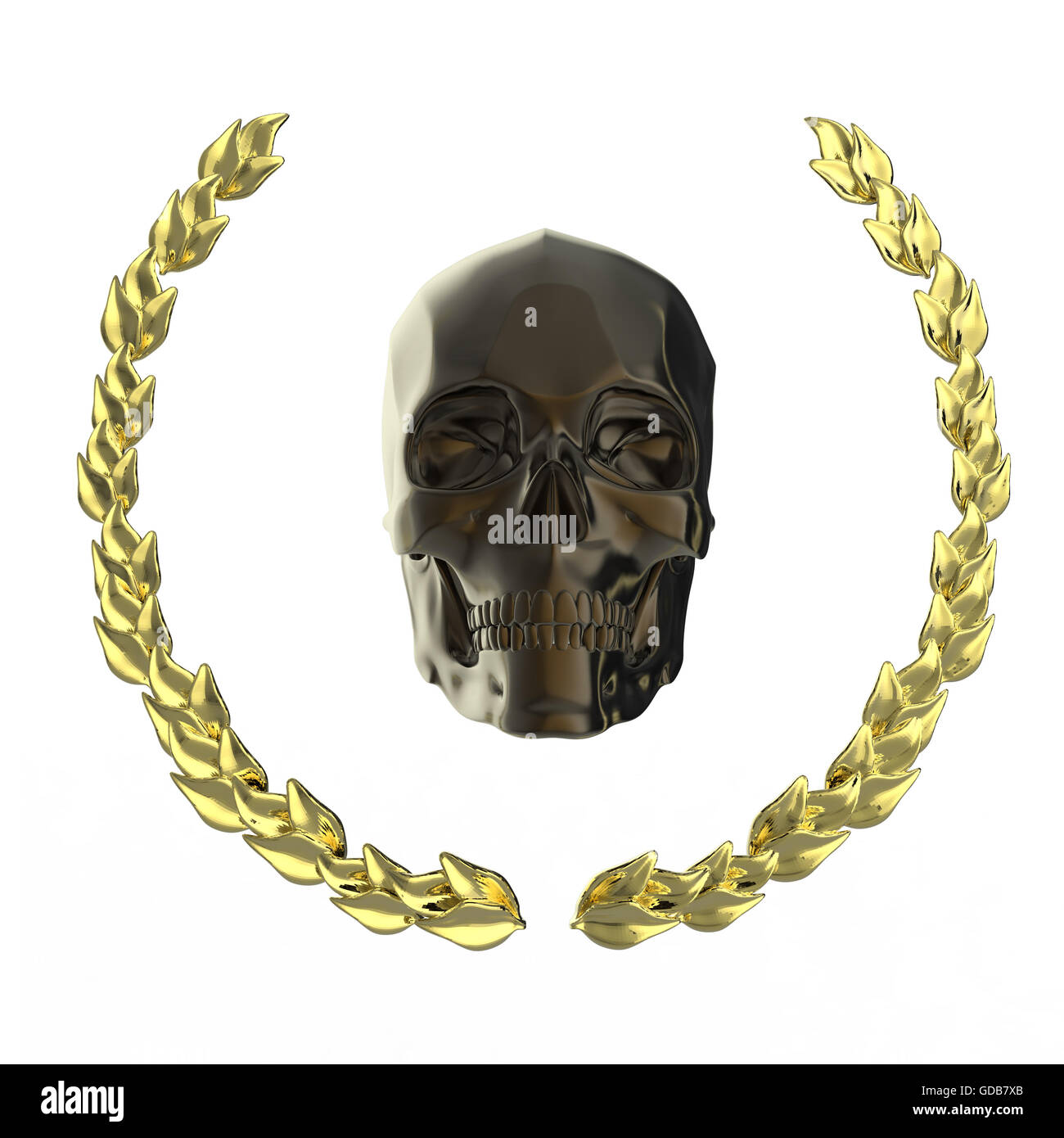 golden skull surrounded with goldel laurel leaves isolated on black background rendering - Stock Image
