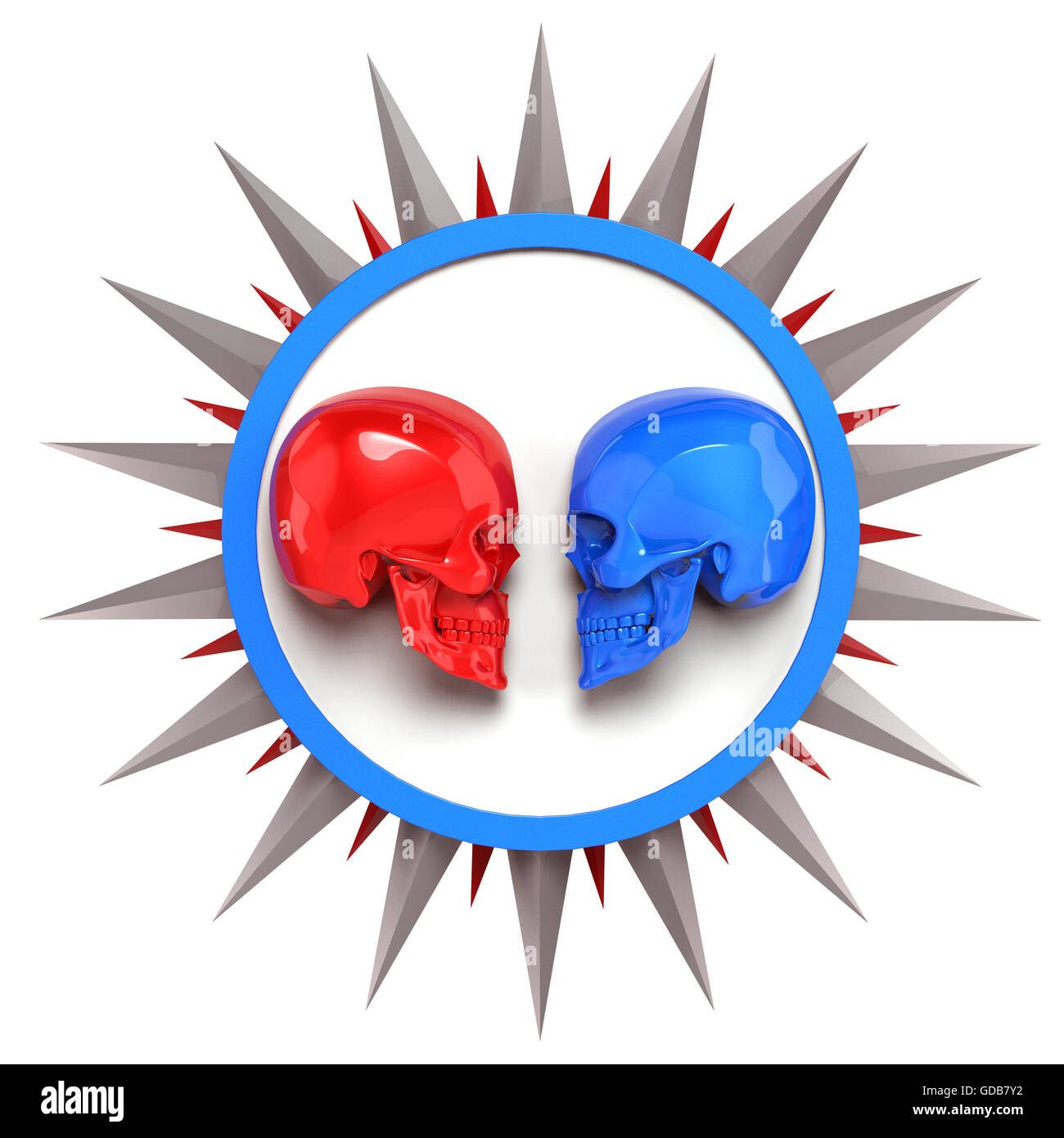 red vs blue metallic painted shiny skulls on white plate with shine spike star around, render. isolated   background, - Stock Image
