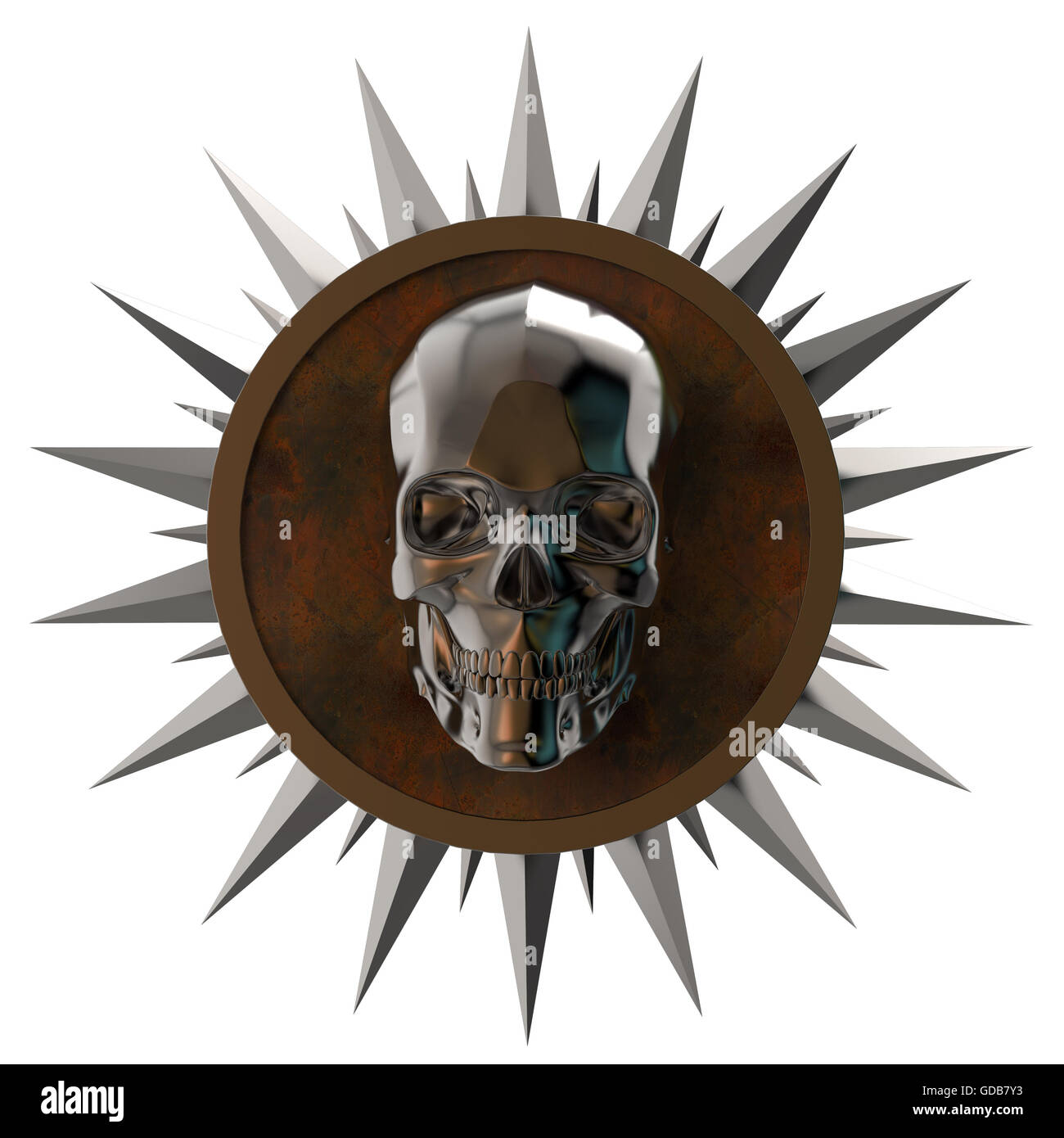 shiny dark metal skull on rusty  plate with   spikes around,isolated  white, post-apocalyptic raiders crest. render - Stock Image