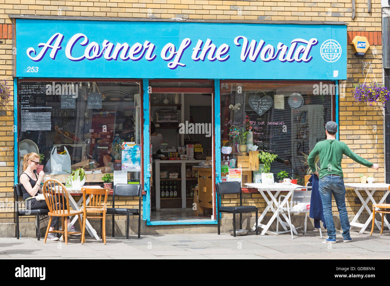 A Corner of the World restaurant at Bethnal Green Road, London in July - Stock Image