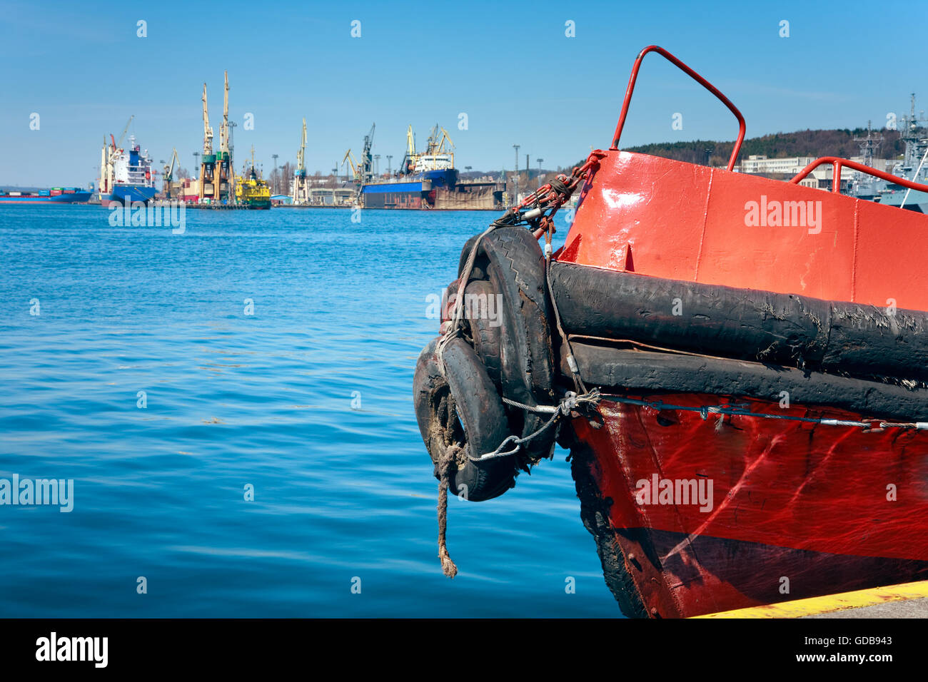 Prow of a red pilot ship Stock Photo