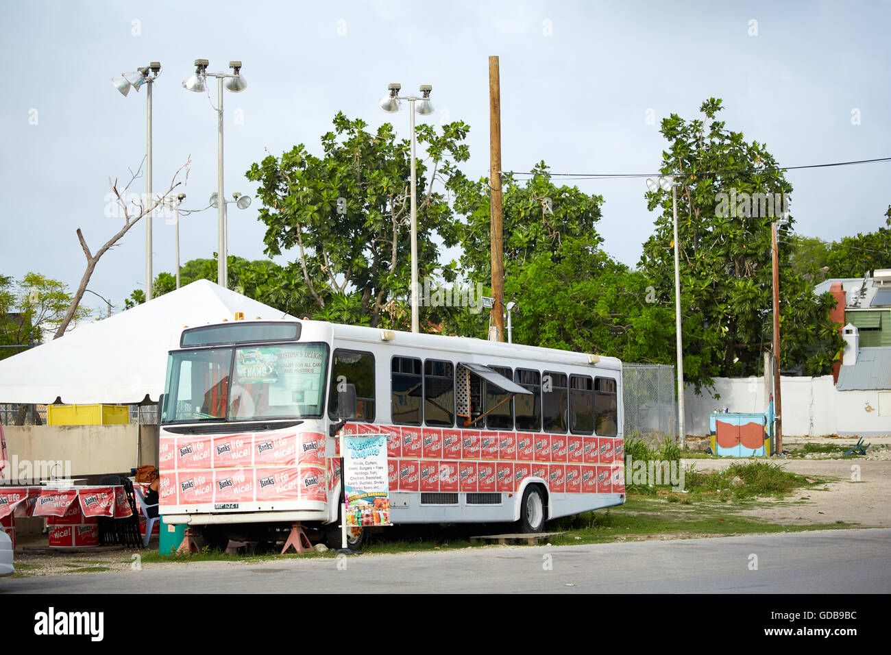 The Lesser Antilles Barbados Parish Saint Michael west indies capital Bridgetown  River Road area coach bus turned - Stock Image
