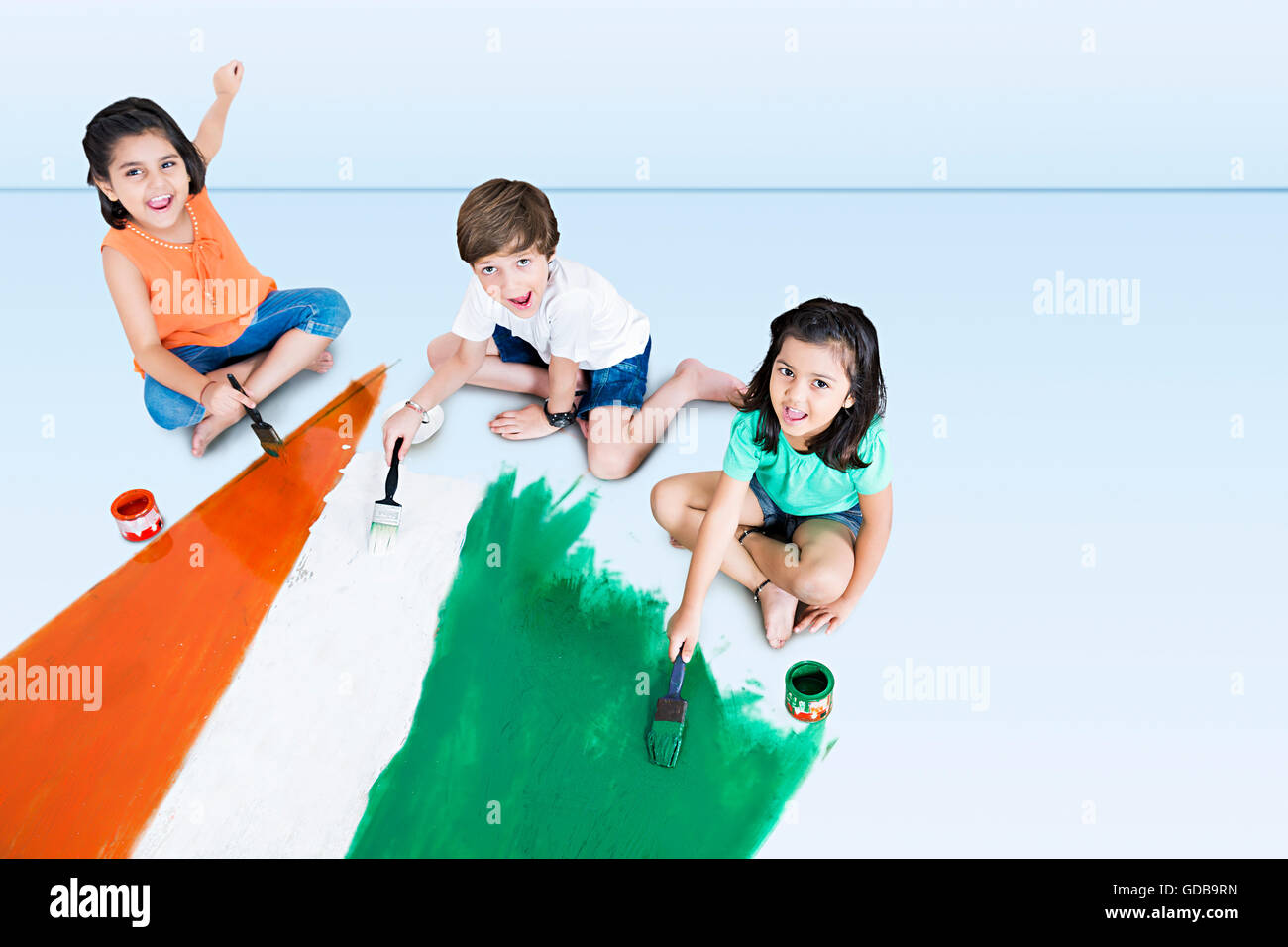 3 indians Kids friends Independence Day Flag Painting Stock Photo ...