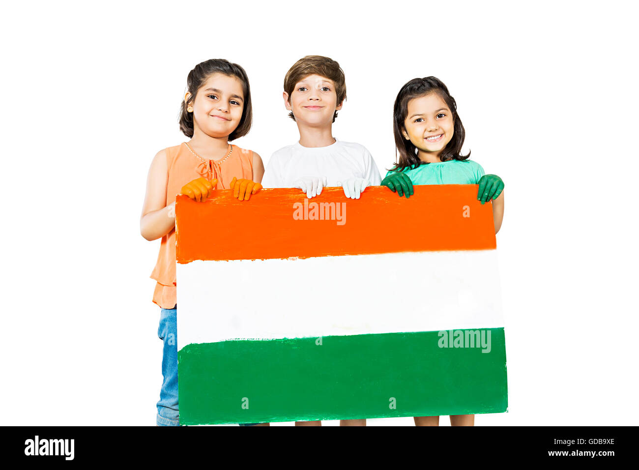 3 indians Kids friends Independence Day flag Message Board showing