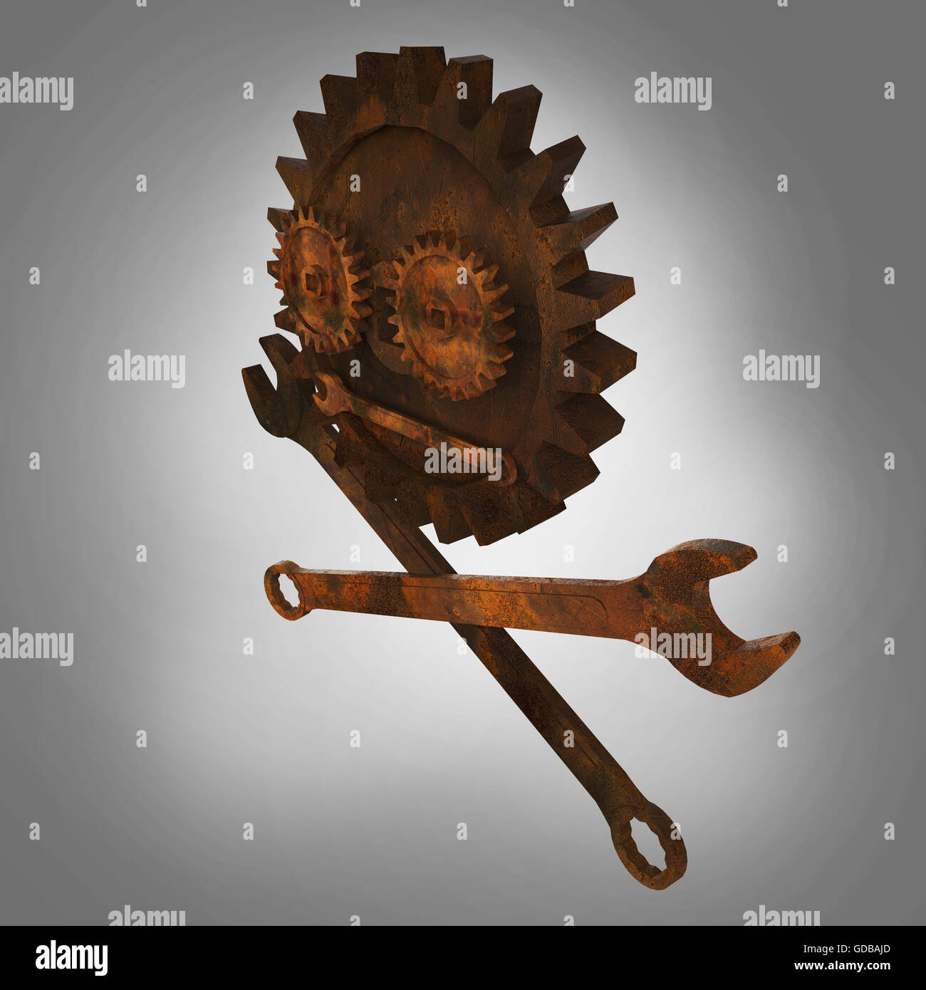 Jolly rodger made of rusty wrenches and gearwheels, fallout post apocalyptic style mechanic emblem render side view - Stock Image