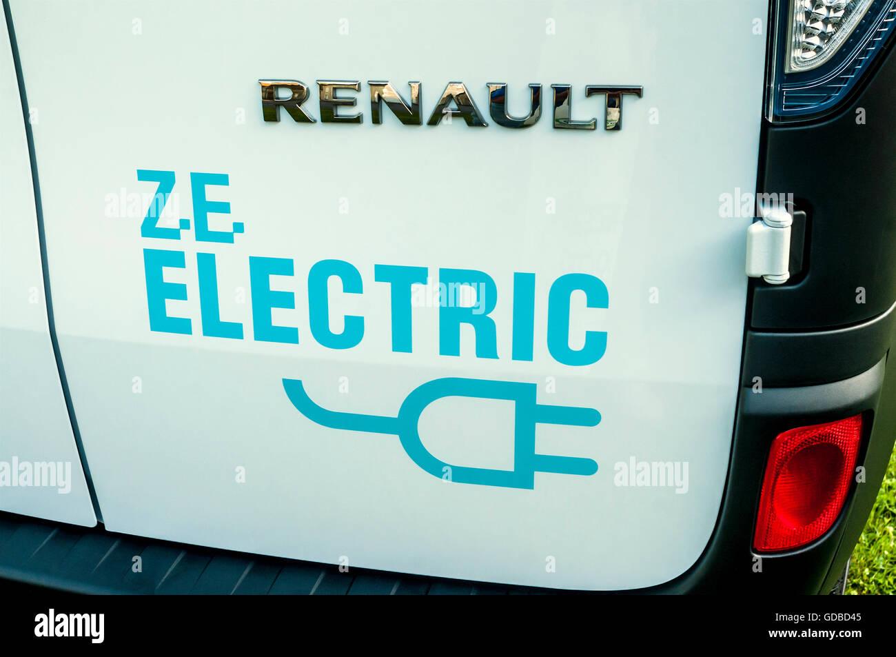 Logo of Renault ZE Electric van - France. Stock Photo