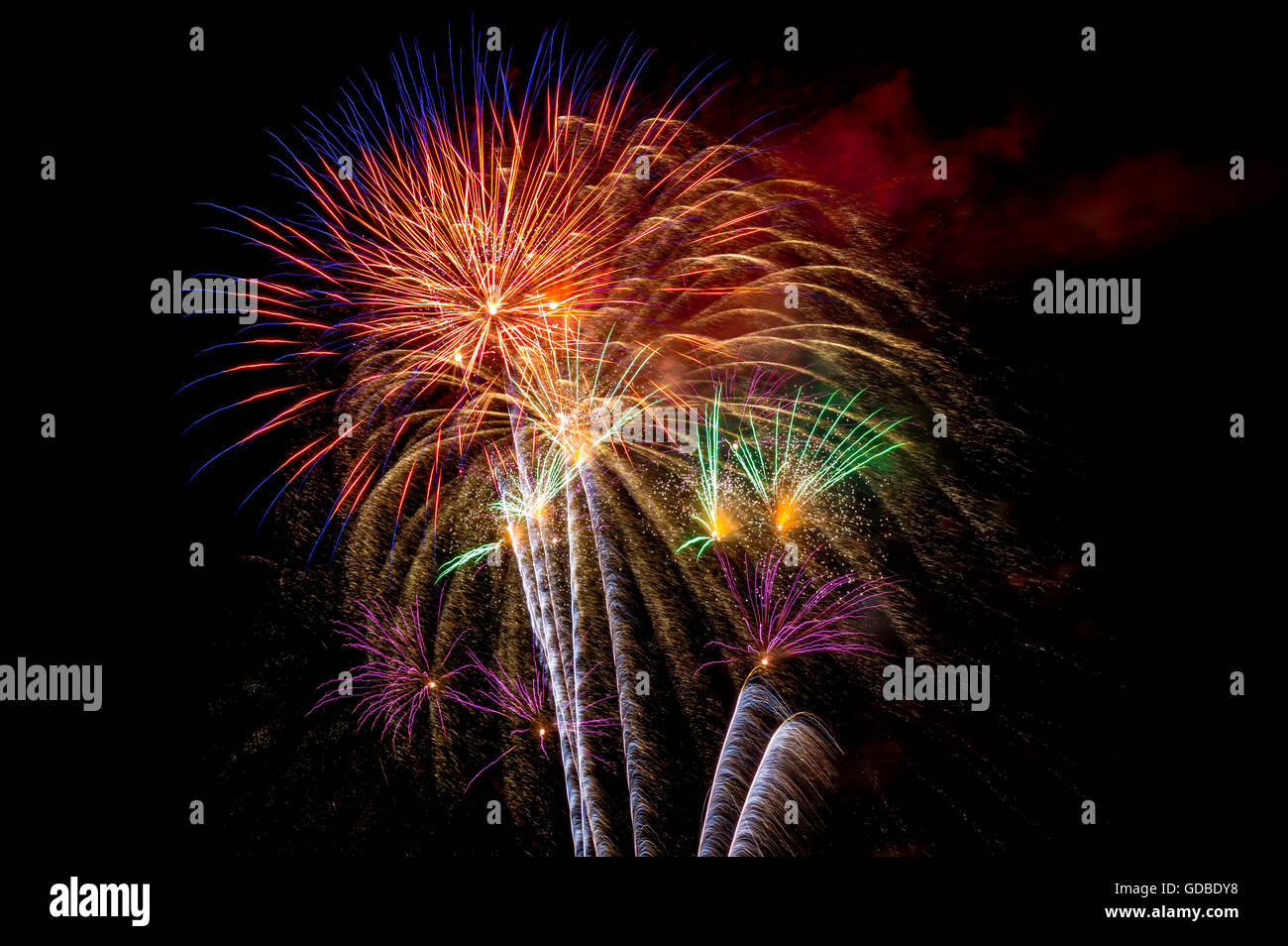 July 4. Fireworks. Miami. Florida. USA - Stock Image