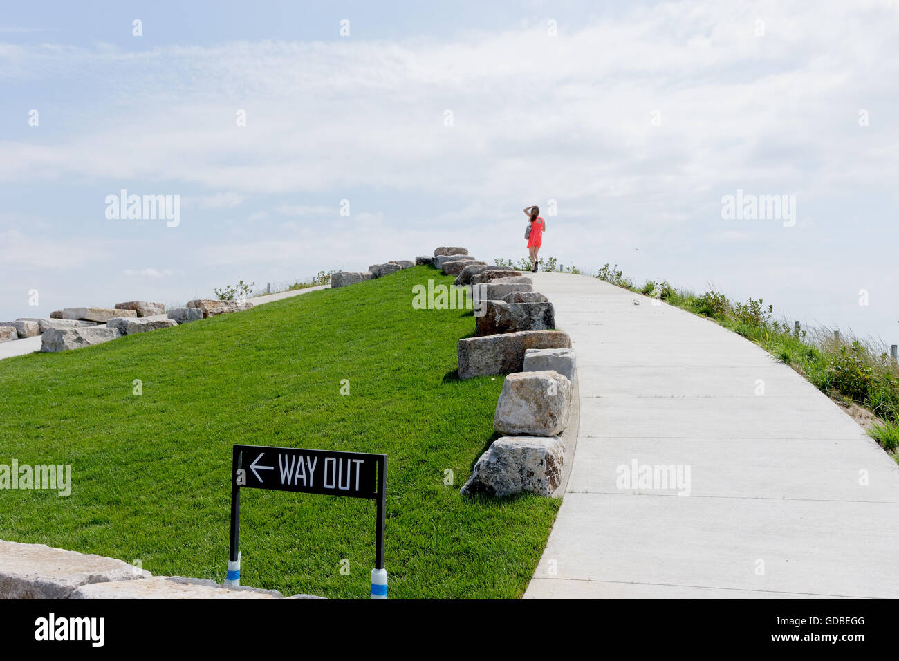 There are four man-made hills on Governors Island, designed by West 8. The summit of Outlook Hill is 70 feet above Stock Photo
