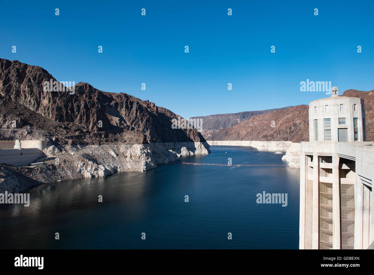 Lake Mead at Hoover Dam; note low water level, image taken April 2016 Stock Photo