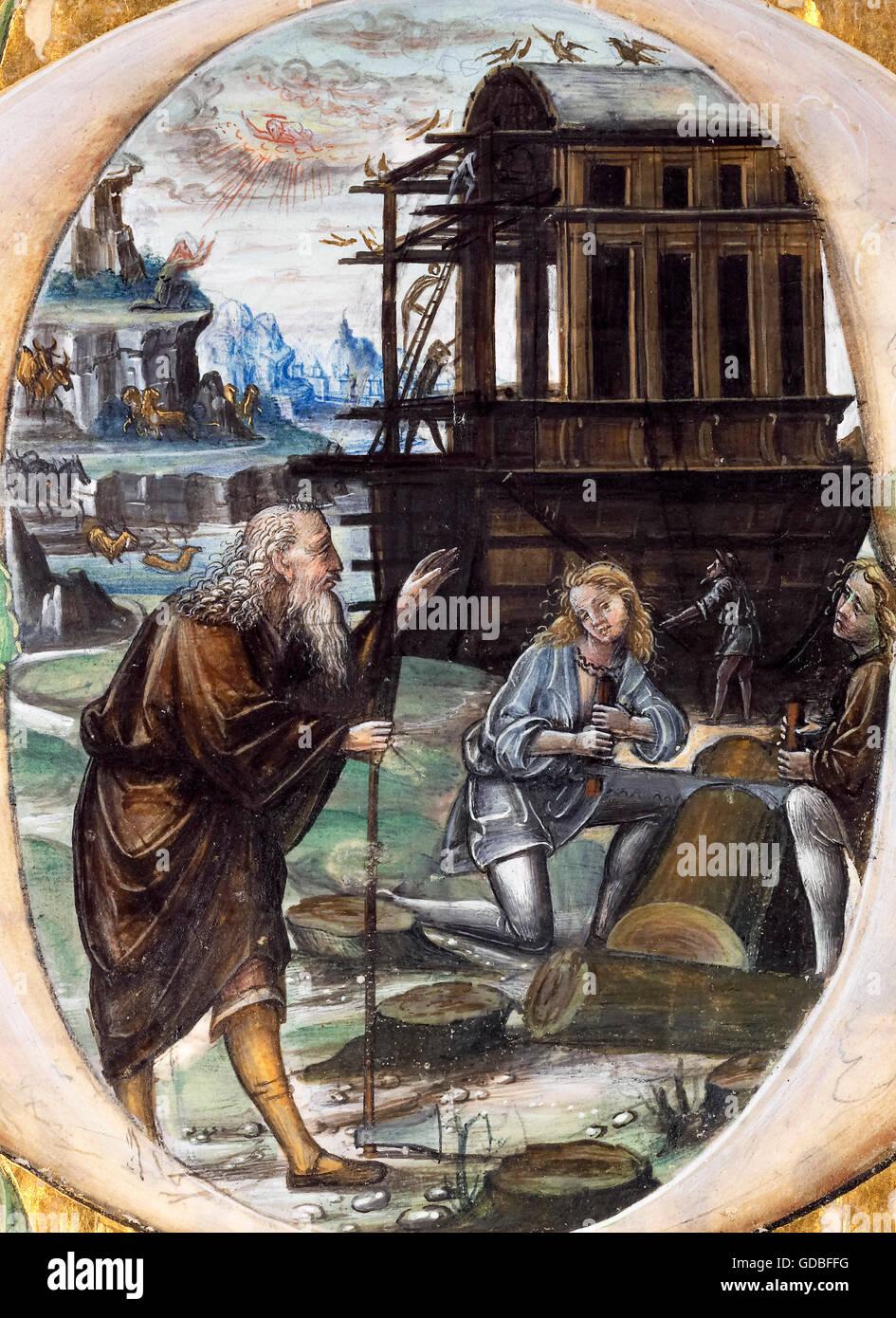 Noah's Ark. Noah Directing the Construction of the Ark, illumination by Master B F, c.1495-1510 - Stock Image