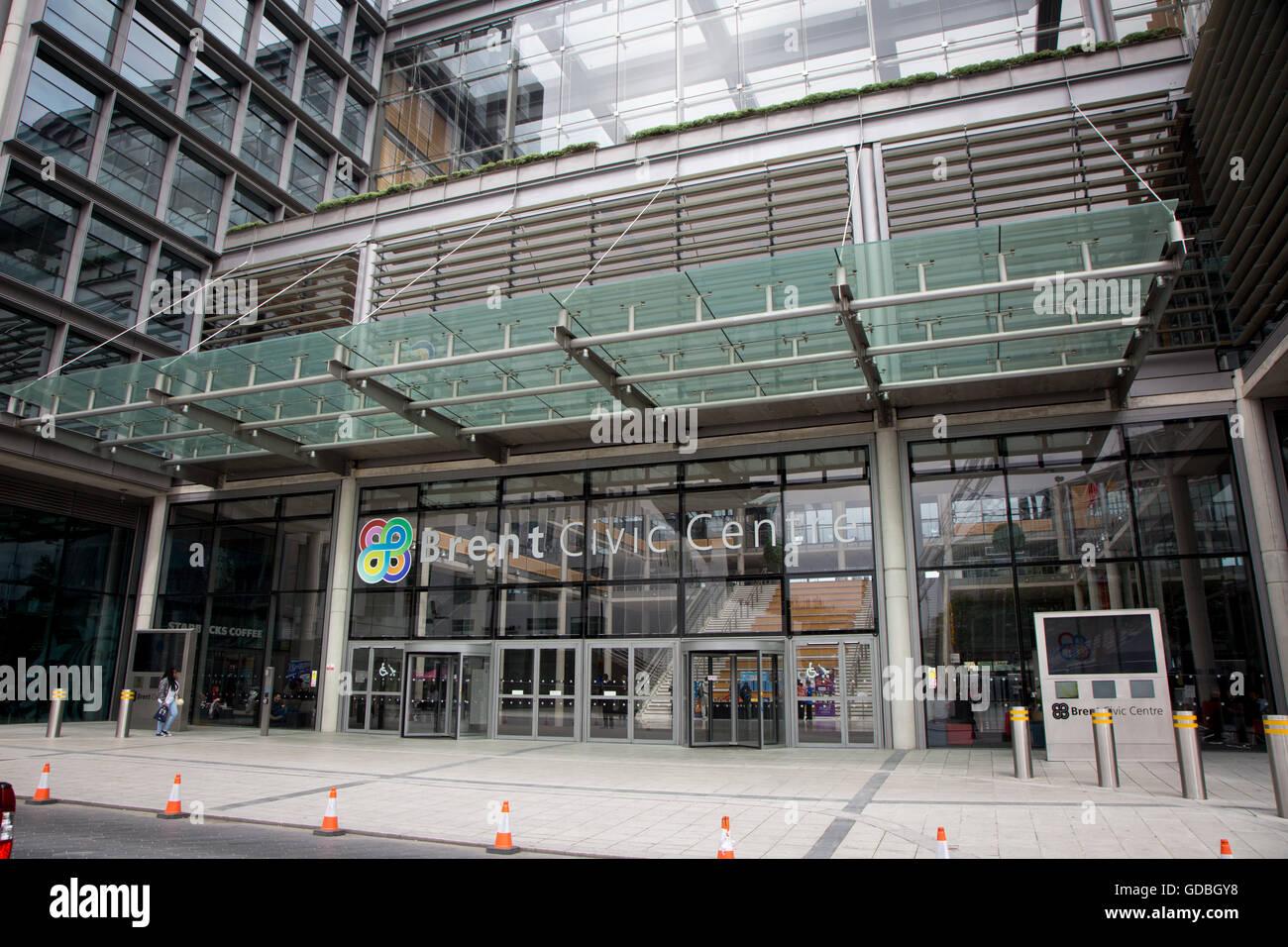 Brent Civic Centre front entrance exterior - Stock Image