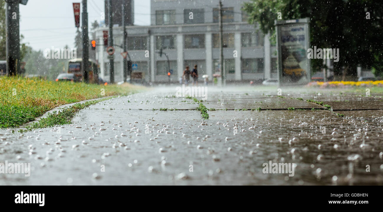 wide picture of bubbles in a puddle rain during heavy stock photo