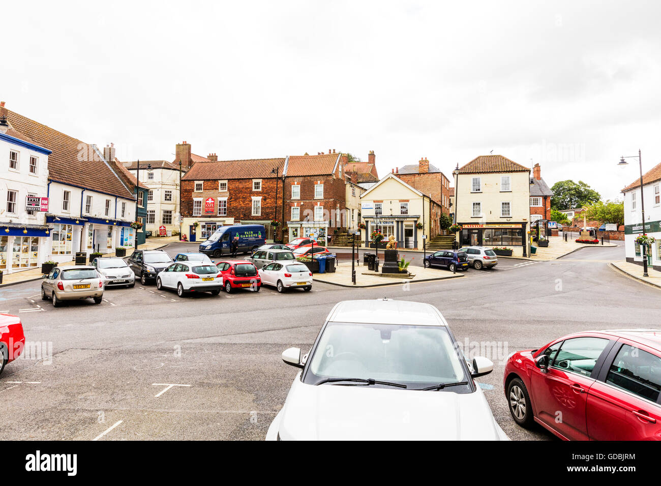 Caister Lincolnshire UK England GB market place town centre center shops buildings towns parking centres centers Stock Photo