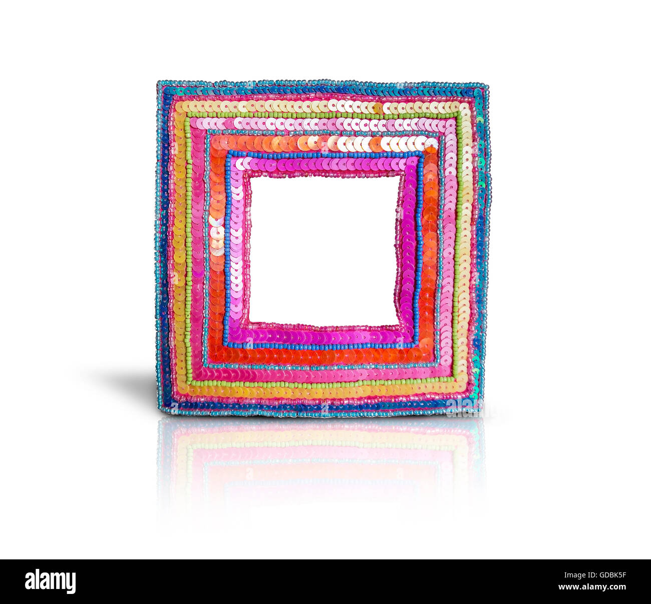 An empty artisan photo frame in isolated background. - Stock Image