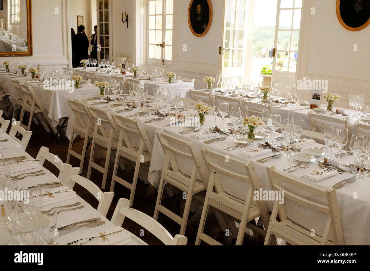 Tables ready for wedding reception - Stock Image