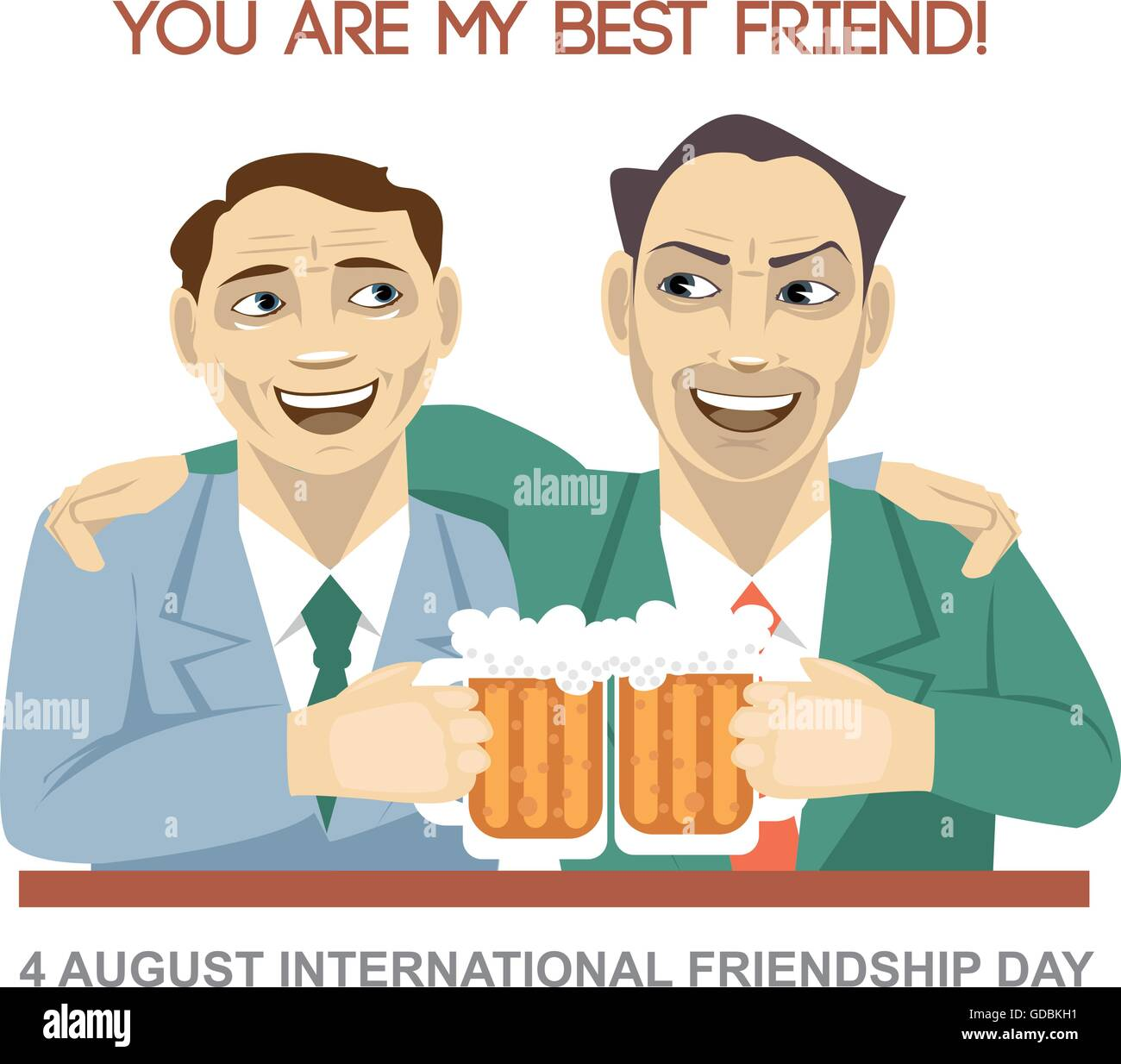 Happy Friendship Day Card 4 August Best Friends Man Drinking Bear Stock Vector Image Art Alamy