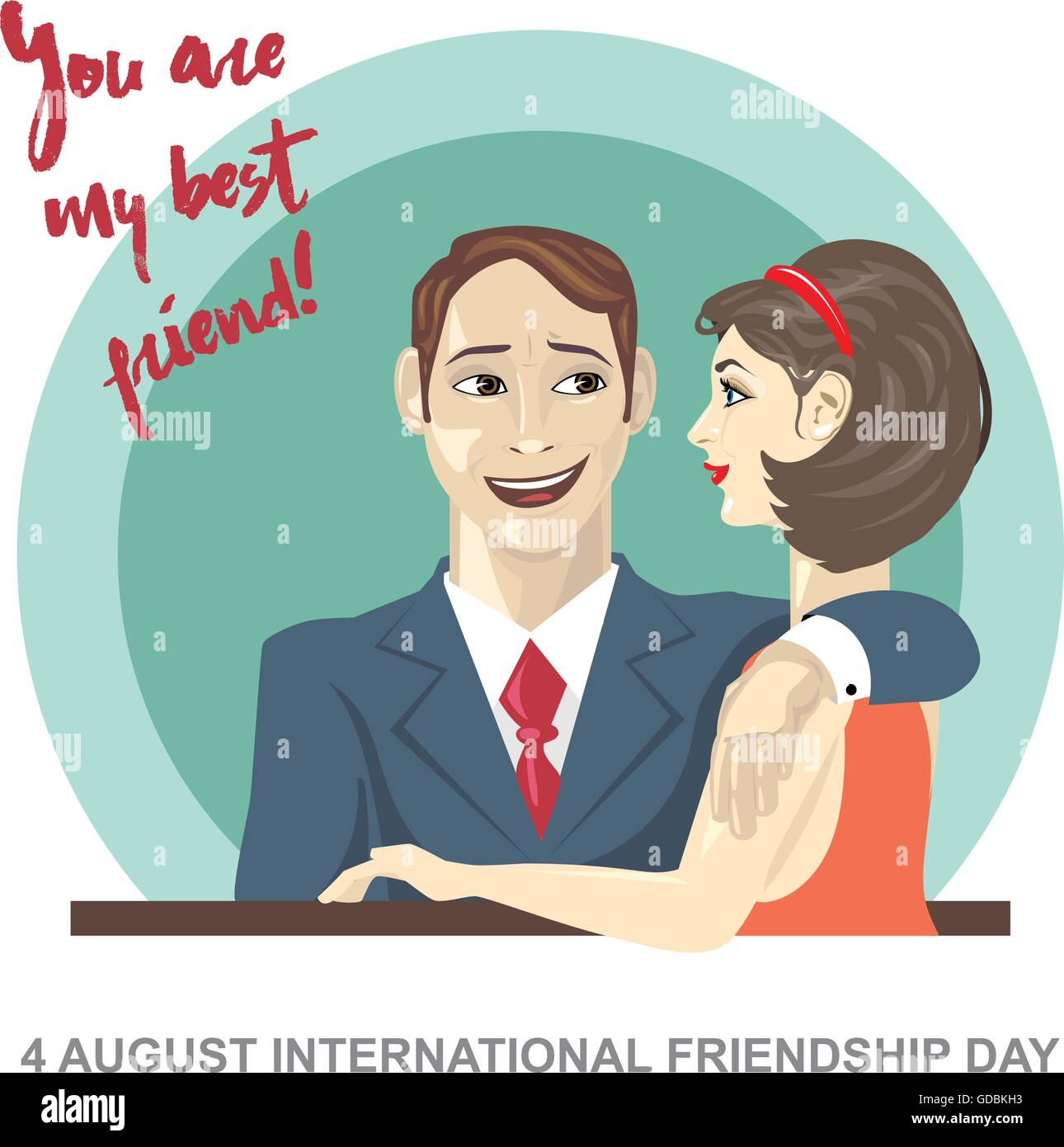 Happy Friendship Day Card 4 August Best Friends Woman And Man Stock Vector Image Art Alamy