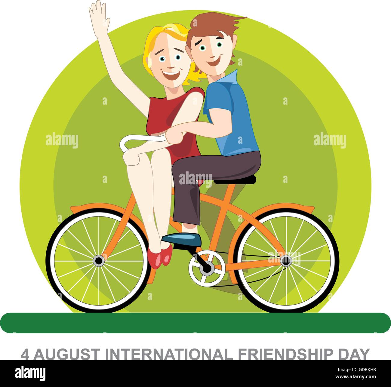 Happy Friendship Day Card 4 August Best Friends Riding An Orange Stock Vector Image Art Alamy